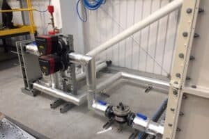 14 the pipework to the plate heat exchanger is completed and insulated
