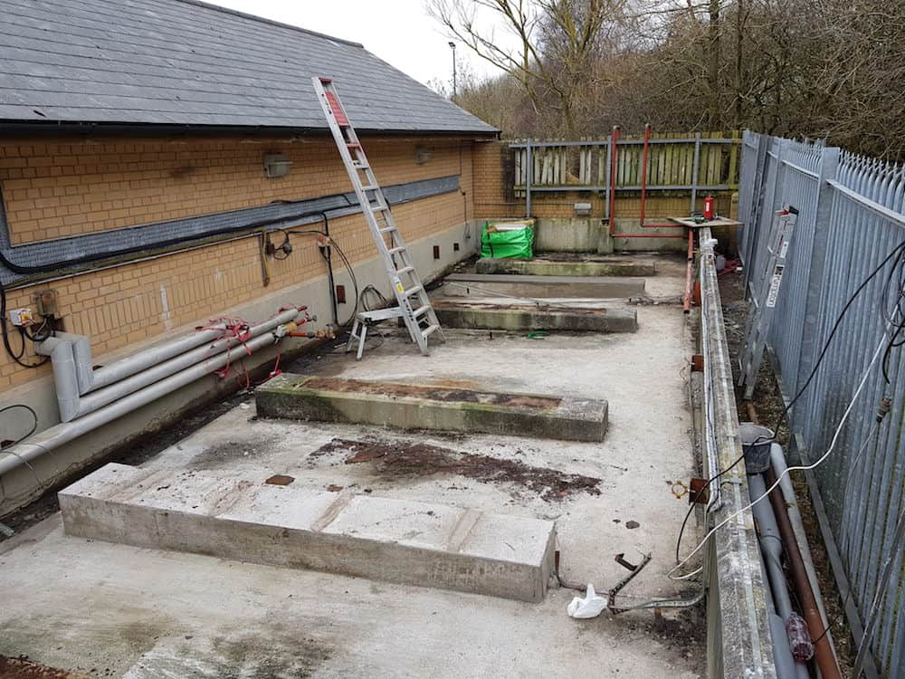 A cleared site all ready for the new tanks, but first we need to sort the pipework
