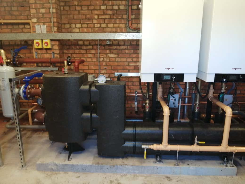 New 120kW Viesmann boilers fitted to their joint manifold