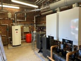 New 120kW Viesmann boilers fitted to their joint manifold.jpg