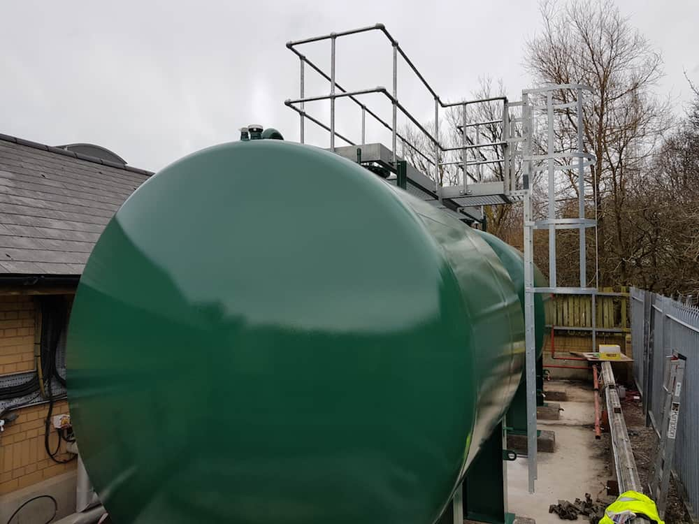 oil tank replacement complete with Ladder and inspection system installed and they are almost ready to go