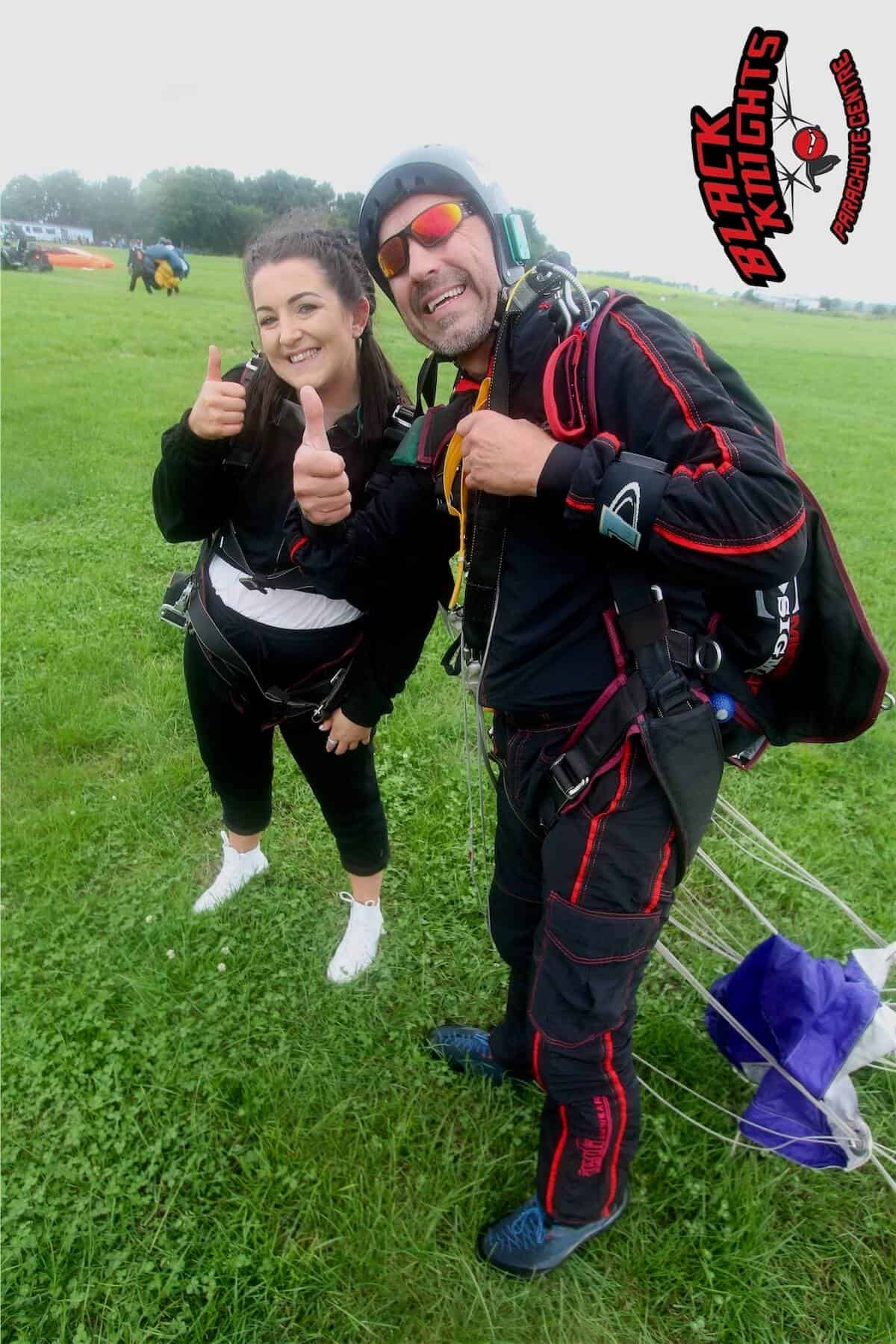 Back on the ground safe and sound for Megan Swanick on the Kimpton Skydive