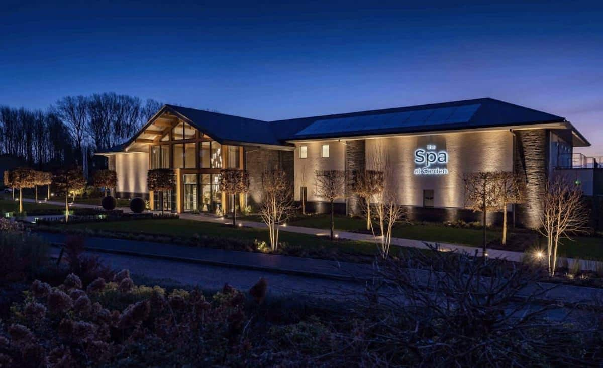 Carden Park Spa front by night with HVAC by Kimpton