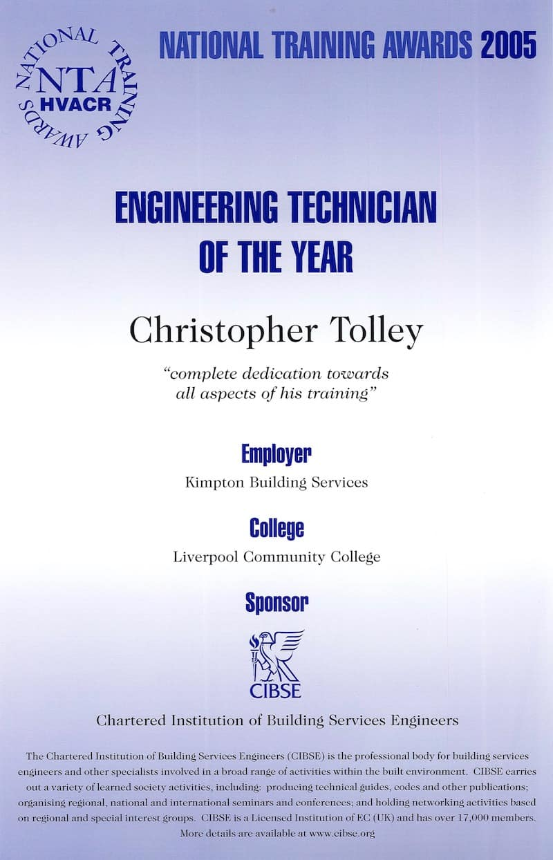 Kimpton Apprentices - Chris Tolley Engineering Technician of the Year Award 2005 certificate
