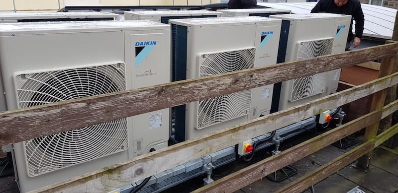 Close up of the bank of air conditioning condensers by Kimpton Air conditioning