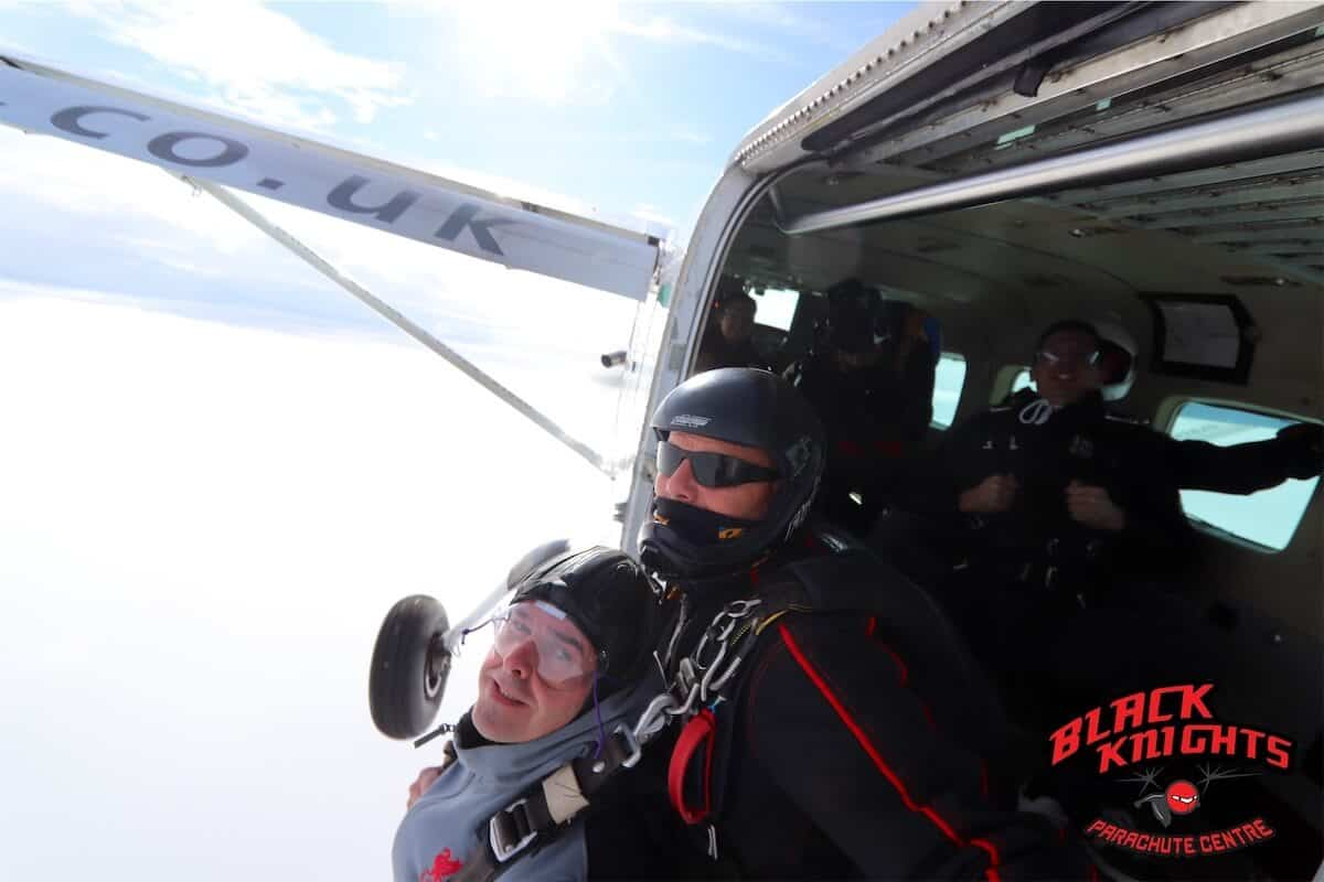 Exiting the plane at 15000ft for Keith Watts of Kimpton