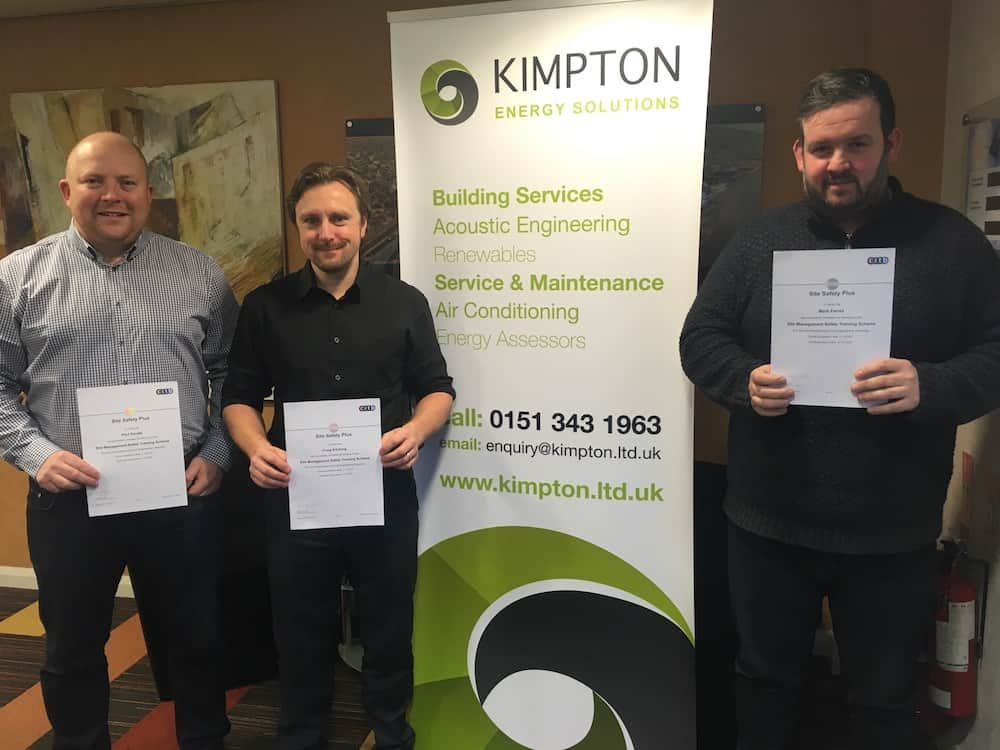 From left to right Paul Davies, Craig Kitching and Mark Farrell of Kimpton's with their SMSTS certificates reduced