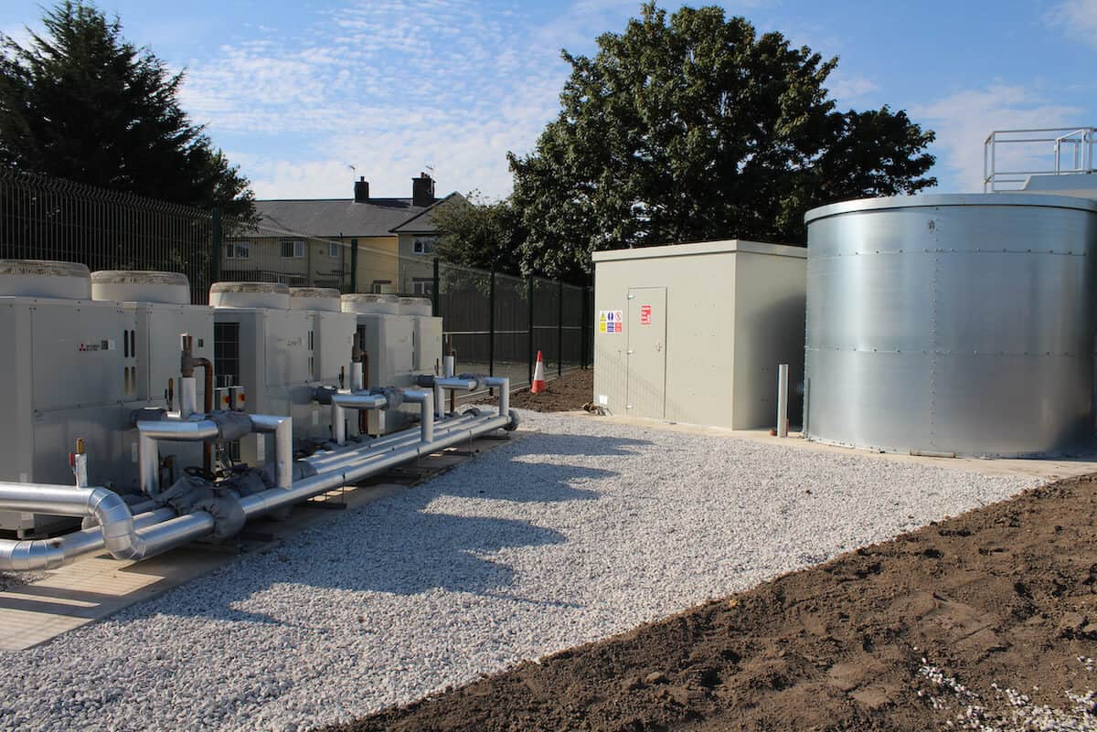 How does an air source heat pump work - Front view of the three Mitsubishi CAHV ASHP units at Queensferry PRU by Kimpton