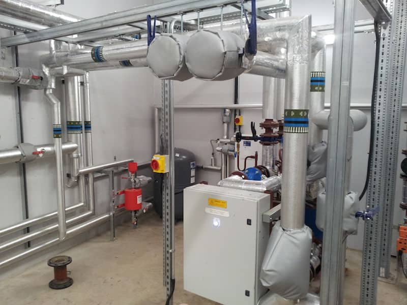 Inside the plant room as part of the HVAC Liverpool by Kimpton on Greenbank Student Accomodation