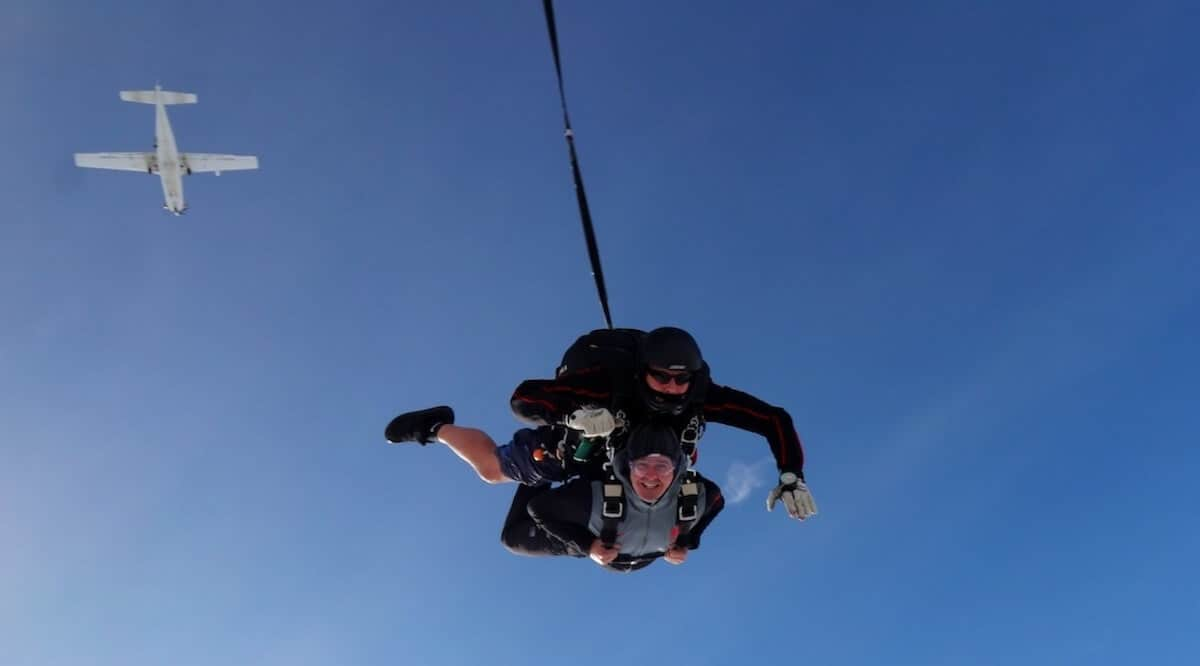 Keith Watts and a 15000ft grin on the Kimpton Skydive