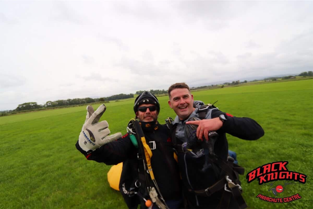 Keith Watts back on the ground after the Kimpton Skydive