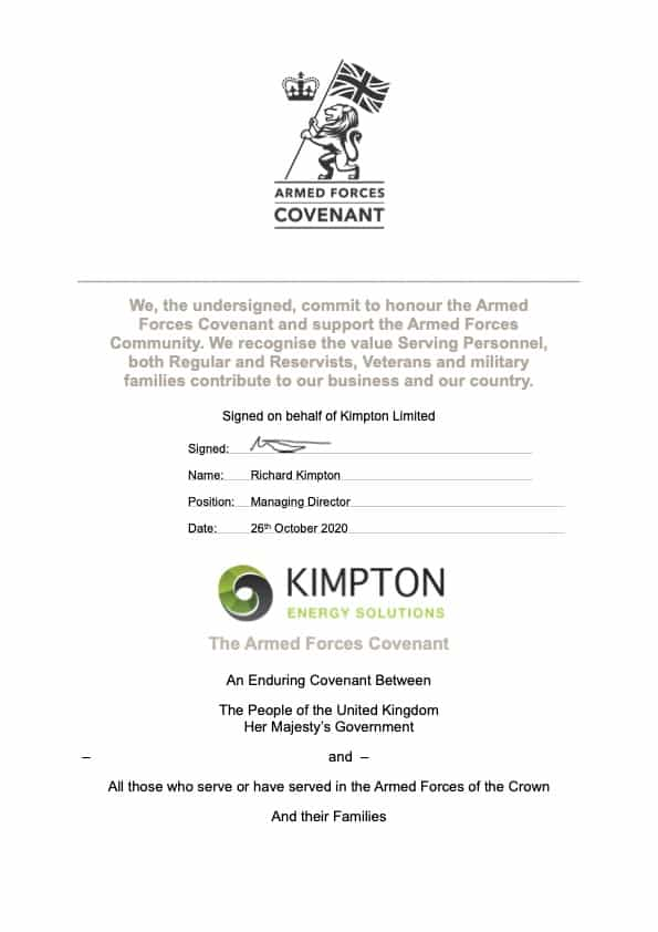 Kimpton Armed Forces Covenant Certificate