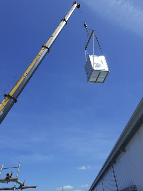 Kimpton HVAC at LJMU Tithebarn chillers being lifted onto roof