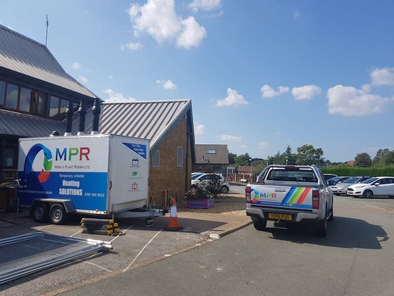 MPR on site with mobile plant room for the boiler replacement