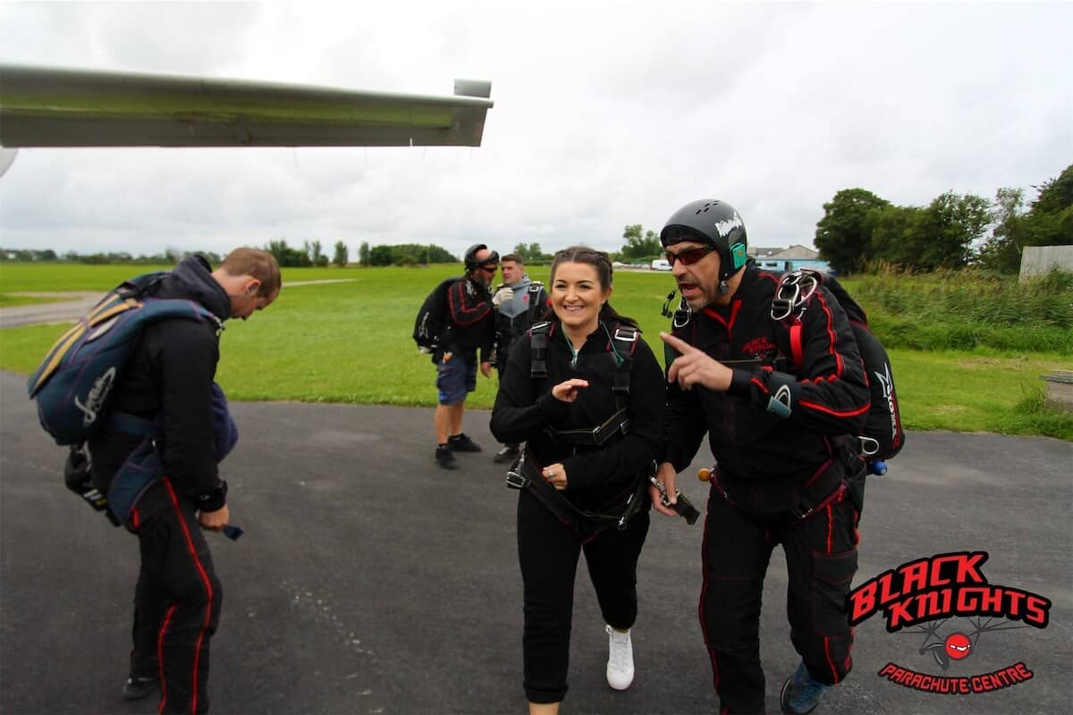 Megan Swanick getting aboard the plane for the Kimpton Skydive