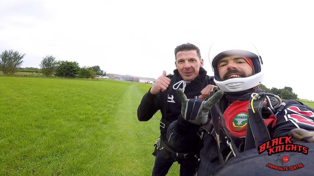 Safely back on the ground for Rob Brine after the Kimpton Skydive