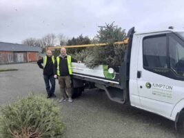 Scott Bennett and Steve Loughran of Kimpton collecting Christmas trees for Nightingale House Hospice 2020