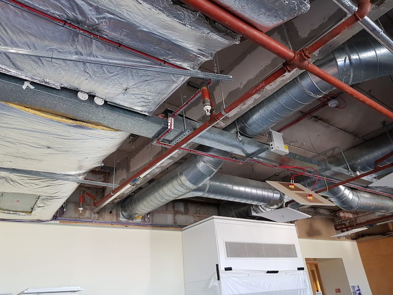Some of the ducting within the roof void