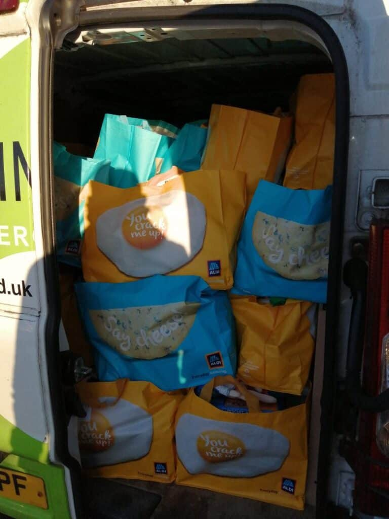 That is one full van - Steve Loughran of Kimpton delivering food parcels for Shaftesbury Youth Club