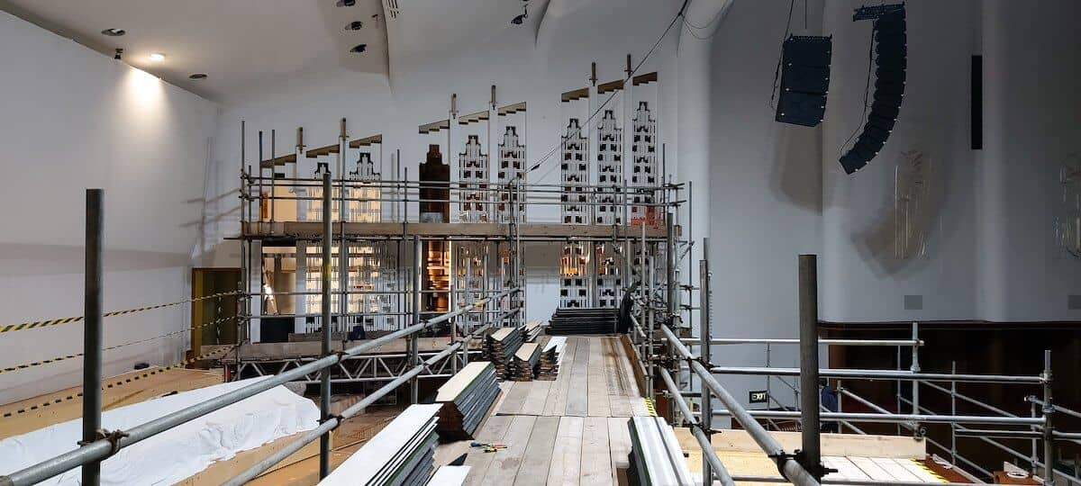 The Organ room at the Philharmonic in Liverpool, ready for the cooling system and the return of the pipework