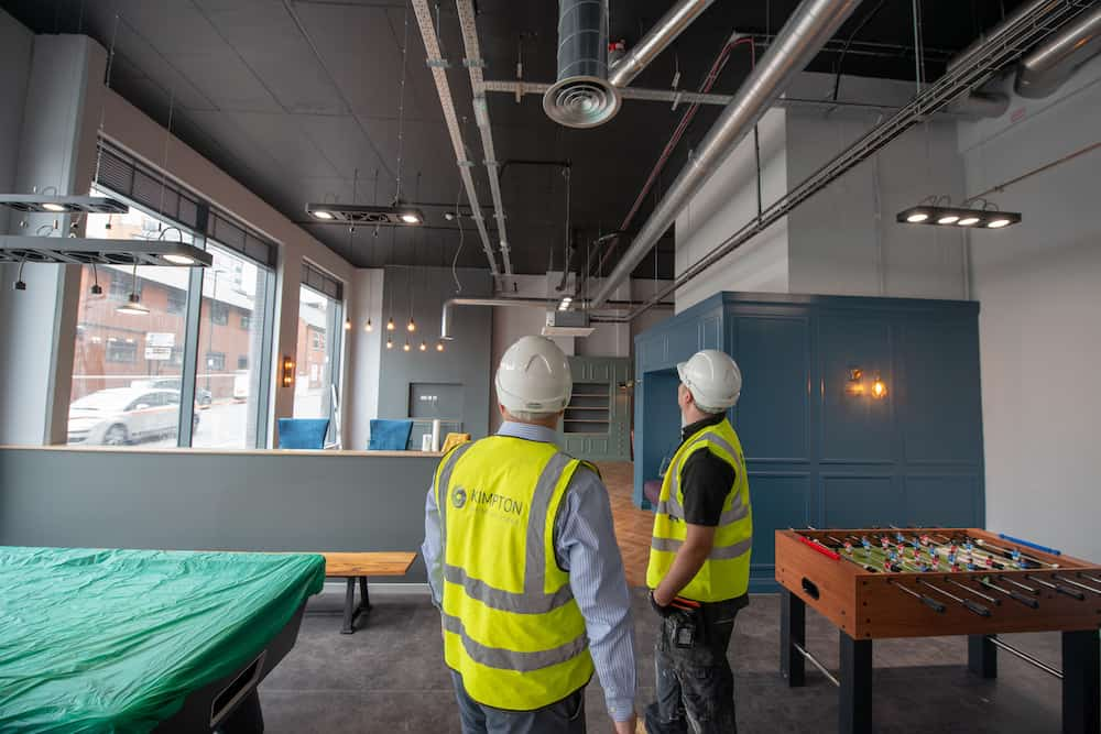 The common area at Bailey Fields, Sheffield with the ducting on view