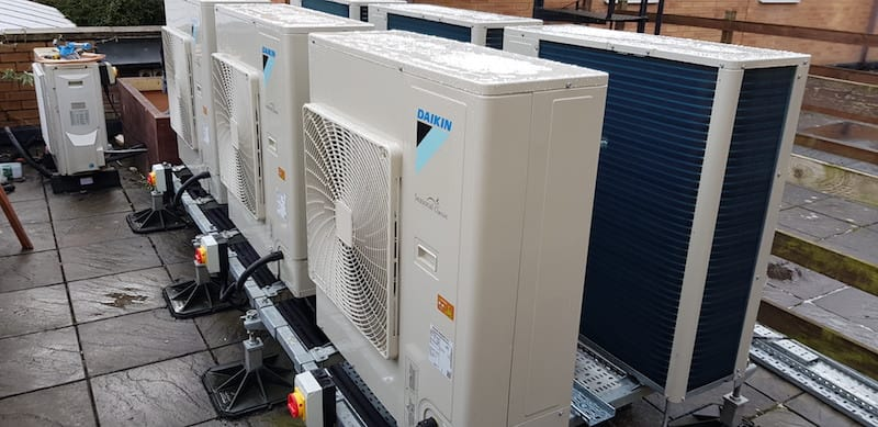 The completed Condenser units in Bangor as part of an air conditioning system by Kimpton Air conditioning