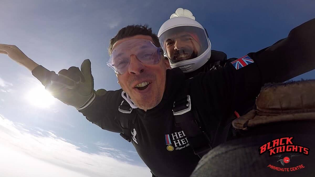 The face of Rob Brine having the time of his life on the Kimpton Skydive