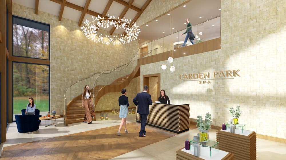 The new reception area visual for the Carden Park Spa
