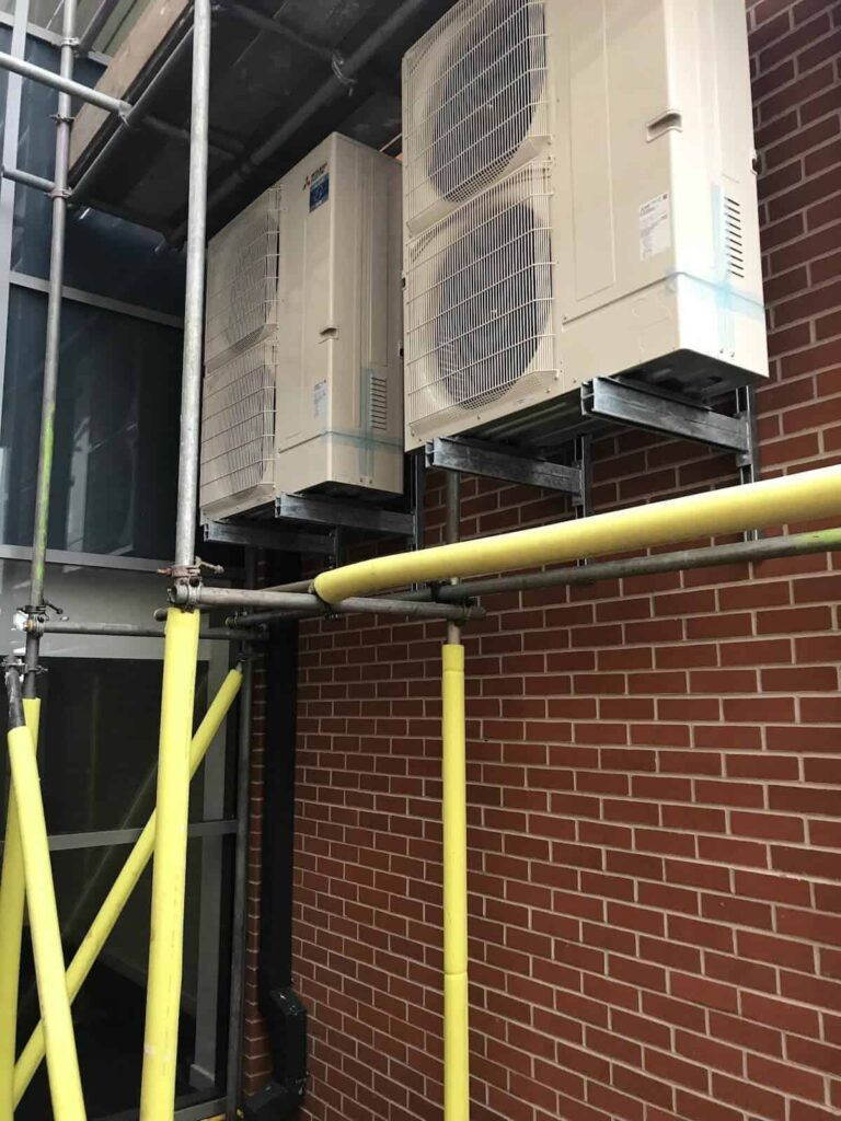 The two external condensors for the air conditiong system in North Wales at Wrexham AFSRC