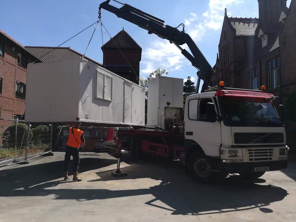 The welfare unit being delivered to the very tight access site
