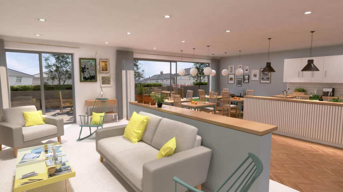 Tir Y Capel new communal area designed by Ellis Williams Architects. mechanical services by Kimpton