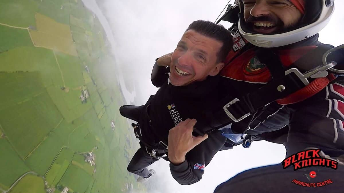 freefall is over and its a gentle drift to the ground for Rob Brine on the Kimpton Skydive