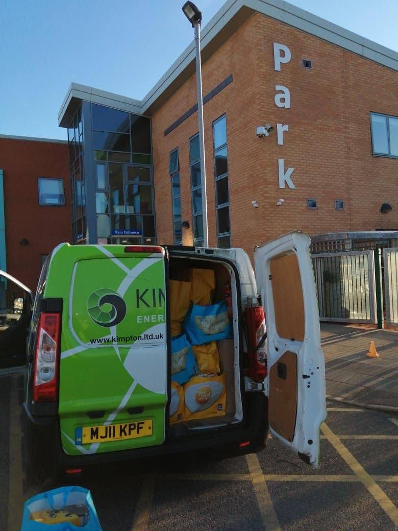 Stuffed with food parcels - Steve Loughran of Kimpton delivering food parcels for Shaftesbury Youth Club